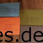 Die Briefe von Katja für den Vorabend des Start, nach der zweiten, fünften und siebten Etappe. Copyright: Daniel Katzberg