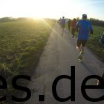 Da lief ich entgegen den Sonnenuntergang. Die Baumreihe rechts versteckt den Parkplatz und somit den Start der 15 km Läufer. Copyright: Daniel Katzberg